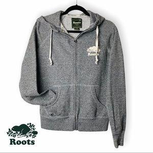 Roots Grey Drawstring Zip Up Hoodie